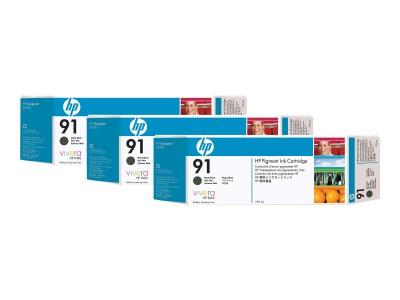 HP 91 Original Tinte matt schwarz Standardkapazität 3 x 775ml 3er-Pack mit Vivera Tinten