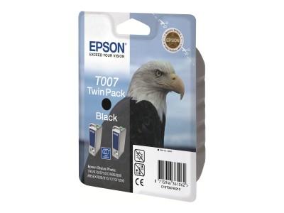 EPSON T007 Tinte schwarz Standardkapazität 2 x 16ml 2 x 540 Seiten 2-pack blister ohne Alarm