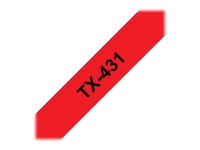 BROTHER P-Touch TX-431 schwarz auf rot 12mm