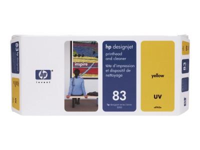 HP 83 Original Druckkopf und Druckkopfreiniger gelb