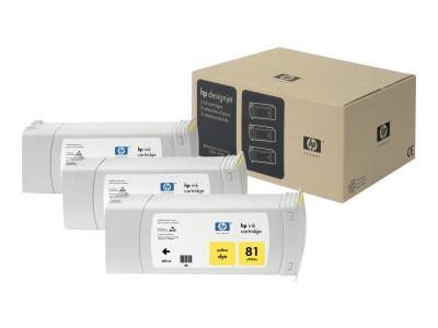 HP 81 Original Farbpatrone gelb Standardkapazität 3 x 680ml 3 x 1.000 Seiten 3er-Pack