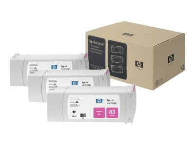 HP 83 Original UV-bestaendige Tinte magenta Standardkapazität 3 x 680ml 3 x 1.312 Seiten 3er-Pack