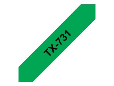 BROTHER P-Touch TX-731 schwarz auf grün 12mm